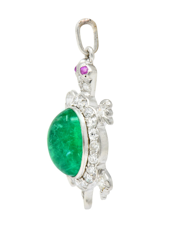Large Art Deco Emerald Diamond Ruby Platinum Cute Turtle Charm - Wilson's Estate Jewelry