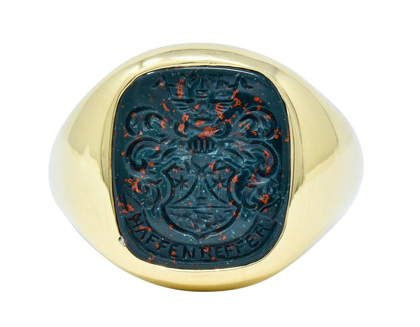 Retro Bloodstone Intaglio 18 Karat Gold Men's Signet Ring