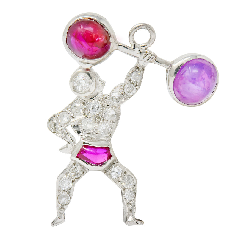Large Art Deco Ruby Cabochon Diamond Platinum Strong Man Weightlifter Charm - Wilson's Estate Jewelry