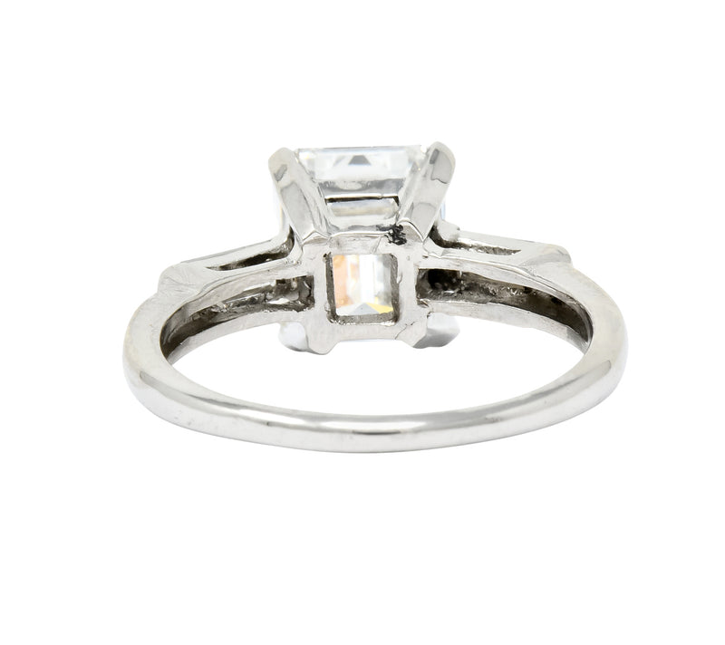 1950's Mid-Century 2.72 CTW Emerald Cut Diamond Platinum Engagement Ring GIA - Wilson's Estate Jewelry