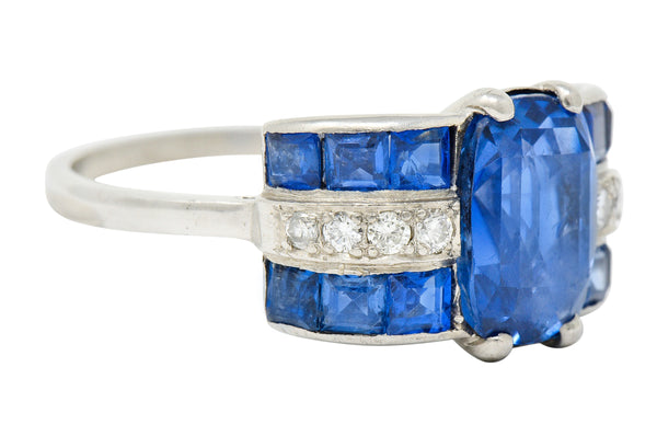 Art Deco 4.41 CTW No Heat Burma Sapphire Diamond Platinum Band Ring GIA