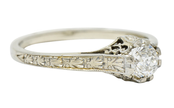 Art Deco 0.33 CTW Diamond 19 Karat White Gold Engagement Ring