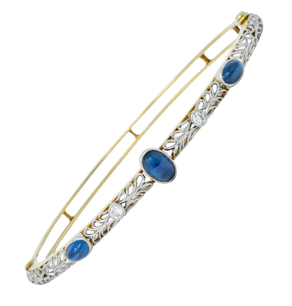 A.J. Hedges & Co. Edwardian Diamond Sapphire Platinum-Topped 14 Karat Gold Bangle