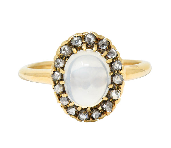 Victorian Moonstone Cabochon Diamond 14 Karat Gold Cluster Ring
