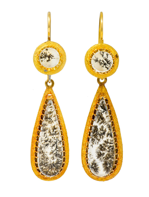 Victorian Dendritic Agate 18 Karat Gold Articulated Day Night Drop Earrings - Wilson's Estate Jewelry