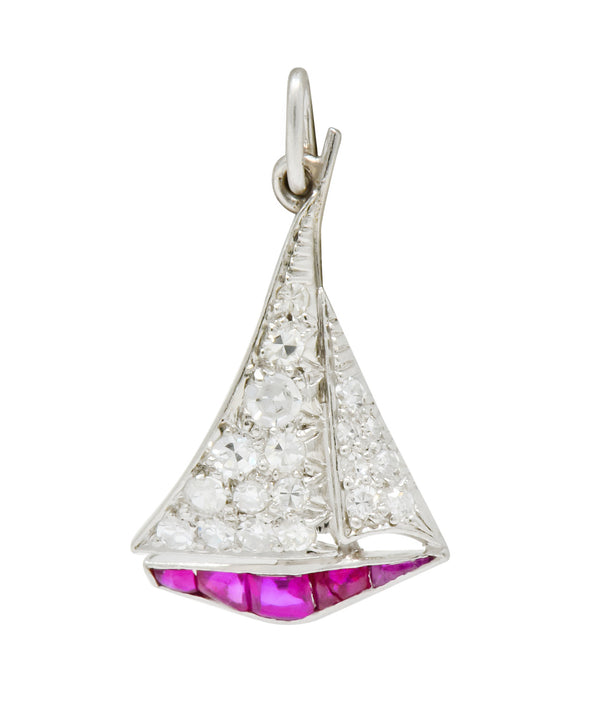 Smooth Sailing Art Deco Diamond Ruby Platinum Sailboat Charm - Wilson's Estate Jewelry