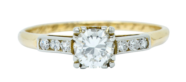 Art Deco Diamond 14 Karat Two-Tone Gold Engagement Ring
