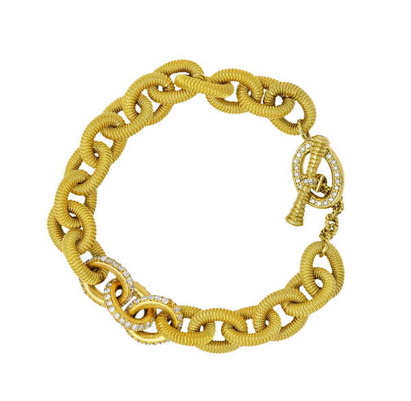 1.75 CTW Pave Diamond 18 Karat Gold Curb Link Toggle Bracelet