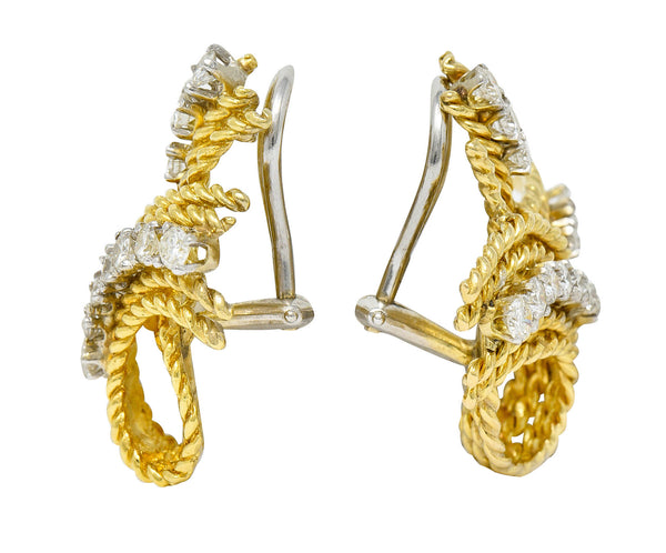 1950's Mid-Century 1.45 CTW Diamond 18 Karat Two-Tone Gold Twisted Rope Ear-Clip Earrings