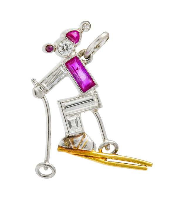 Art Deco Ruby Diamond 18 Karat Gold Platinum Cross Country Skiing Charm - Wilson's Estate Jewelry