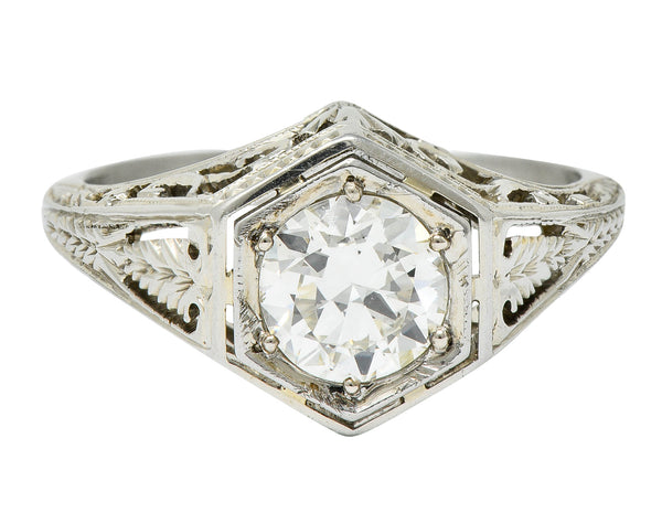 Art Deco 0.77 CTW Diamond 18 Karat Gold Foliate Engagement Ring