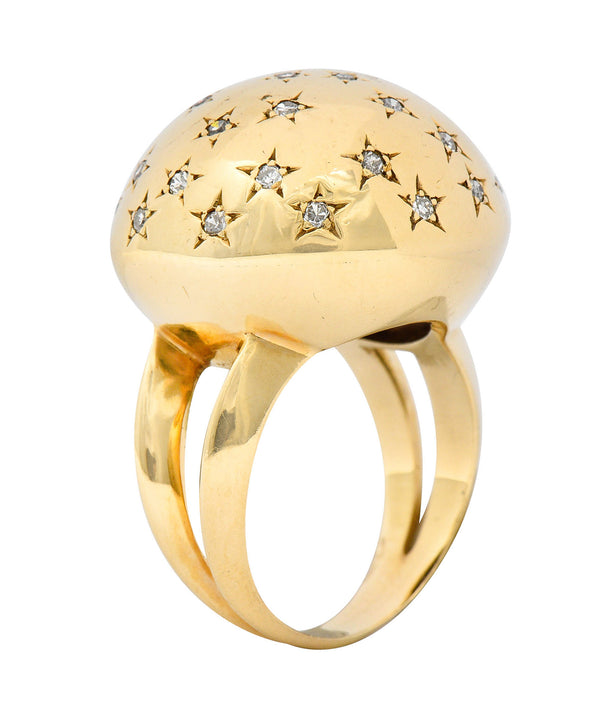 1940's Retro 0.75 CTW Diamond 14 Karat Gold Dome Ring