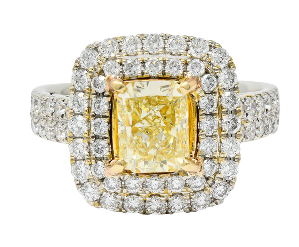Contemporary 2.60 CTW Yellow Diamond & White Diamond 18 Karat Gold Ring