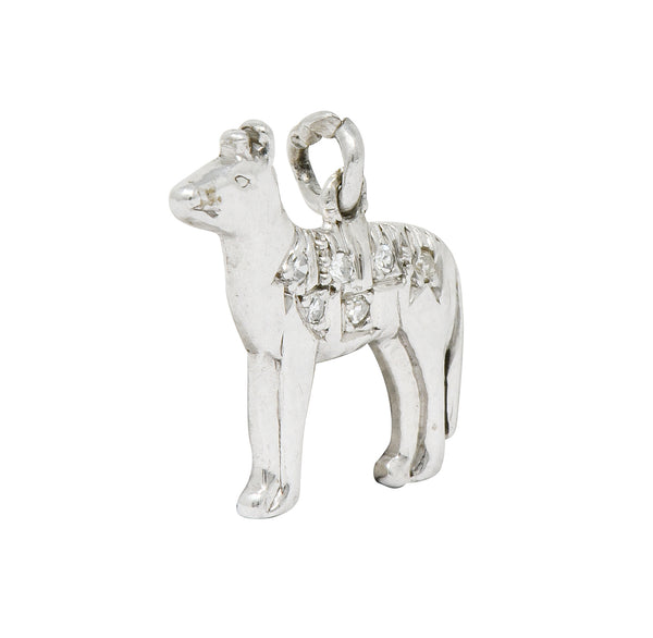 Adorable Retro Diamond Platinum Dingo Dog Charm - Wilson's Estate Jewelry