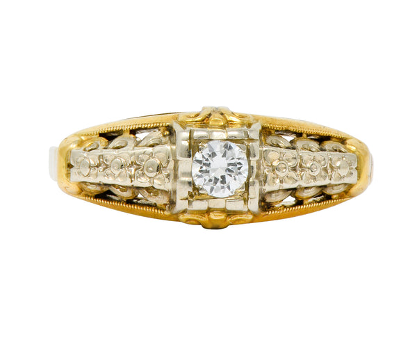 Granat Brothers Diamond 14 Karat Two-Tone Gold Orange Blossom Engagement Ring - Wilson's Estate Jewelry