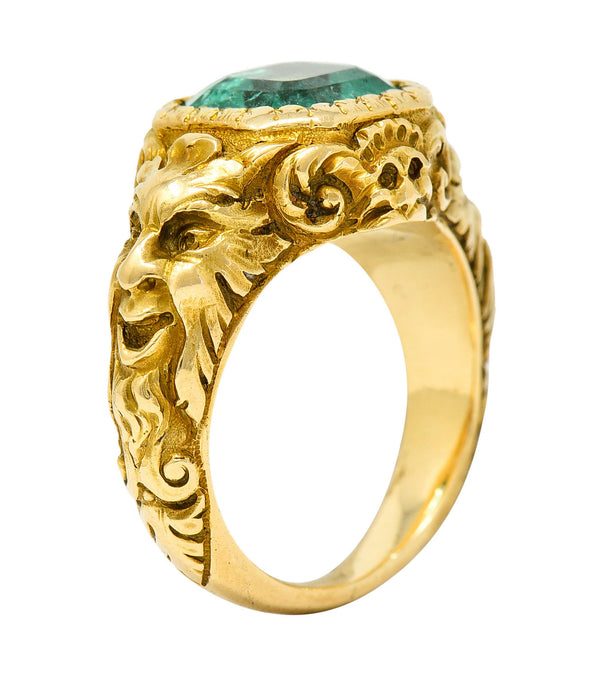 Art Nouveau Emerald 18 Karat Gold Green Man Unisex Men's Signet Ring