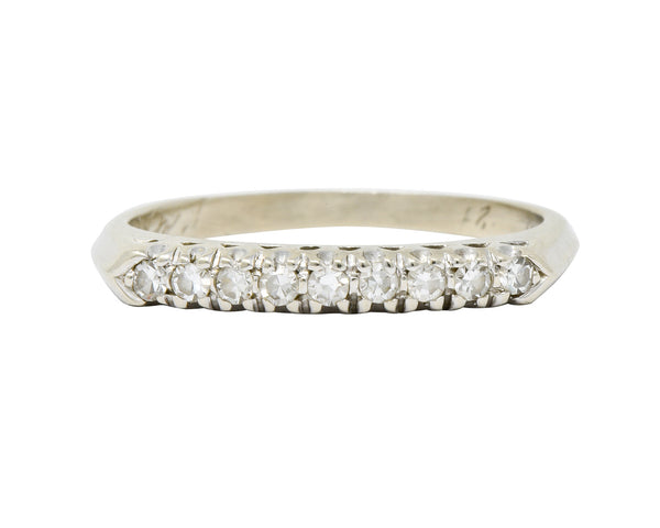 Retro 0.25 CTW Diamond 14 Karat White Gold Fishtail Stacking Band Ring - Wilson's Estate Jewelry