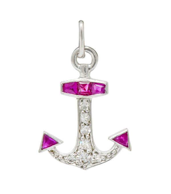 Darling Art Deco Diamond Ruby Platinum Anchor Charm - Wilson's Estate Jewelry