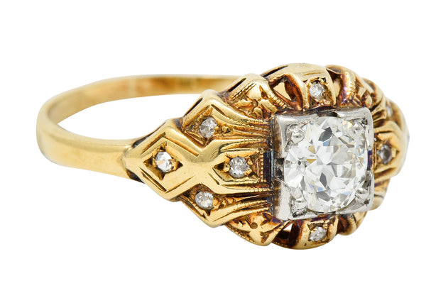 Art Deco 0.52 CTW Diamond 14 Karat Gold Geometric Band Ring