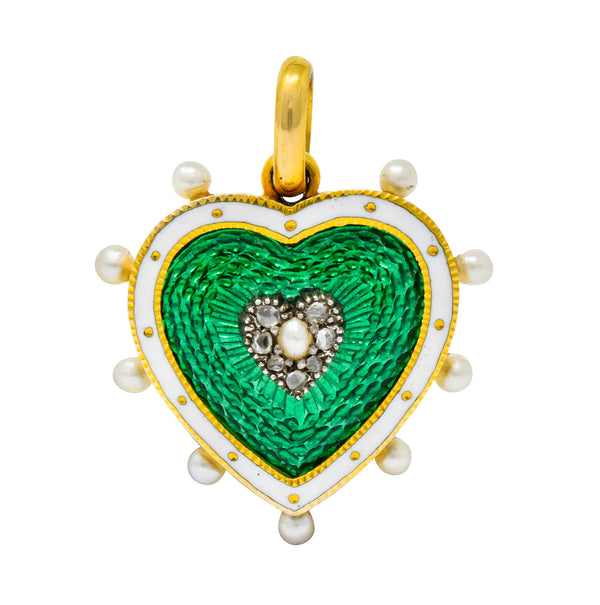 Victorian Green Enamel Pearl Diamond 18 Karat Gold Heart Pendant - Wilson's Estate Jewelry