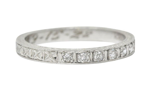 1928 Art Deco Diamond Platinum Orange Blossom Band Ring