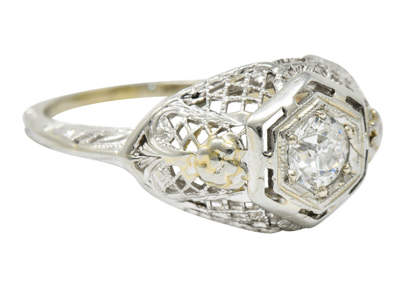Art Deco 0.30 CTW Diamond 18 Karat White Gold Trellis Engagement Ring