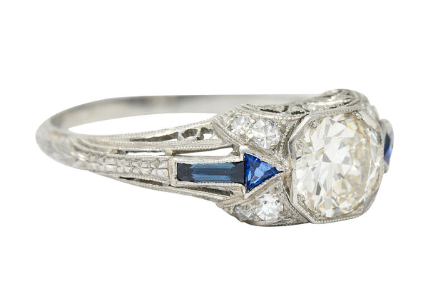 Art Deco Sapphire 1.10 CTW Diamond Platinum Arrow Engagement Ring