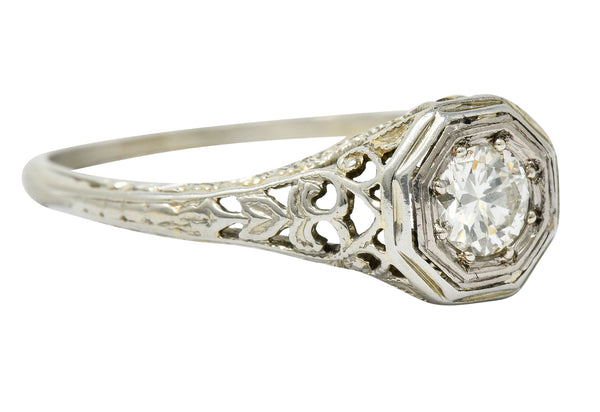 Fulmer & Co. Diamond 18 Karat White Gold Octagonal Engagement Ring