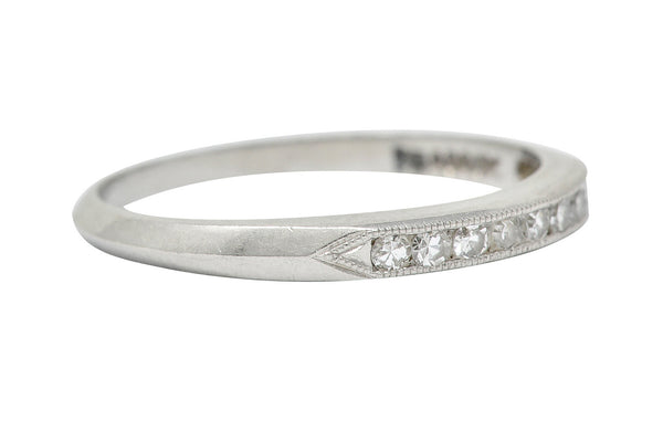 C.D. Peacock Art Deco Diamond Platinum Channel Band Ring