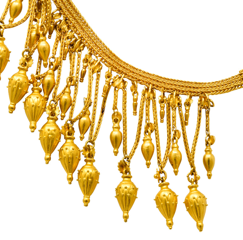 Castellani Etruscan Revival Enamel 18 Karat Gold Fringe Melos Drop Necklace Circa 1860 - Wilson's Estate Jewelry