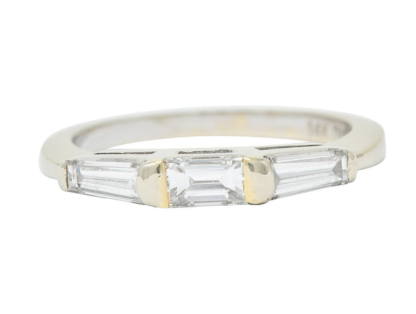 1950's Mid-Century 0.75 CTW Baguette Diamond 14 Karat White Gold Band Ring