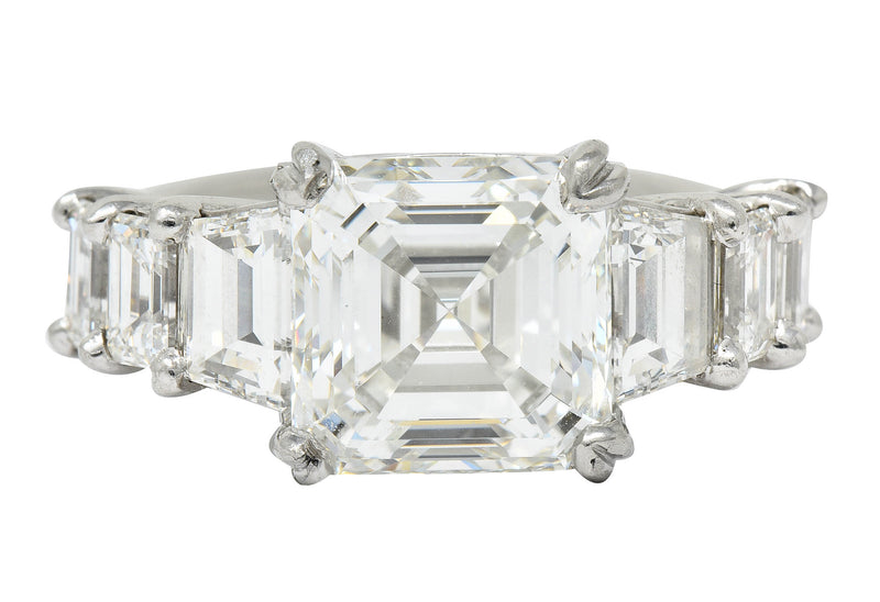 1950's Mid-Century 5.90 CTW Asscher Diamond Platinum Engagement Ring GIA