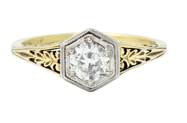 Edwardian 0.48 CTW Diamond Platinum-Topped 14 Karat Gold Hexagonal Engagement Ring