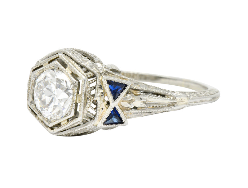 Art Deco 0.65 CTW Diamond Sapphire 18 Karat White Gold Engagement Ring - Wilson's Estate Jewelry