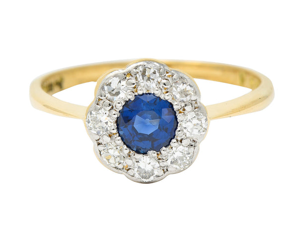 Edwardian 0.73 CTW Sapphire Diamond Platinum-Topped 19 Karat Gold Cluster Ring