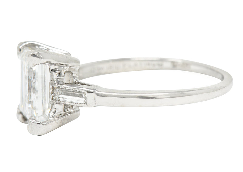 Vintage 3.40 CTW Mexican Fire Opal Diamond 18 Karat Gold Three Stone Ring - Wilson's Estate Jewelry