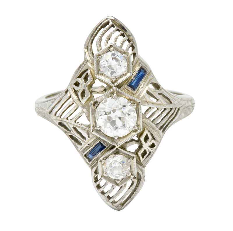 Art Deco 0.62 CTW Diamond Sapphire 18 Karat White Gold Dinner Ring - Wilson's Estate Jewelry