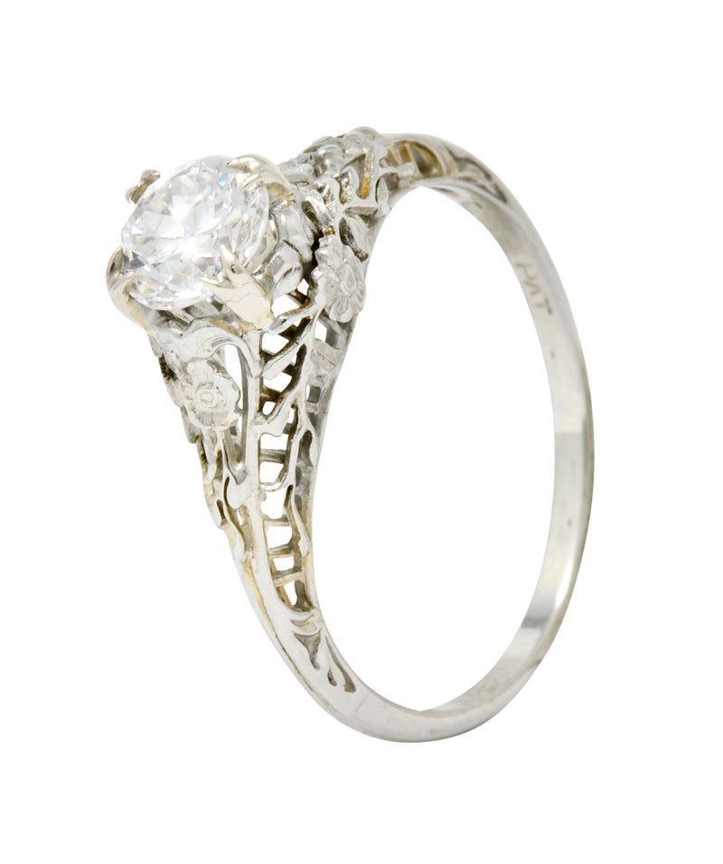 Edwardian 0.73 CTW Diamond 18 Karat White Gold Floral Engagement Ring GIA - Wilson's Estate Jewelry