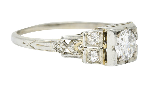 Early Retro 0.65 CTW Diamond 18 Karat White Gold Engagement Ring