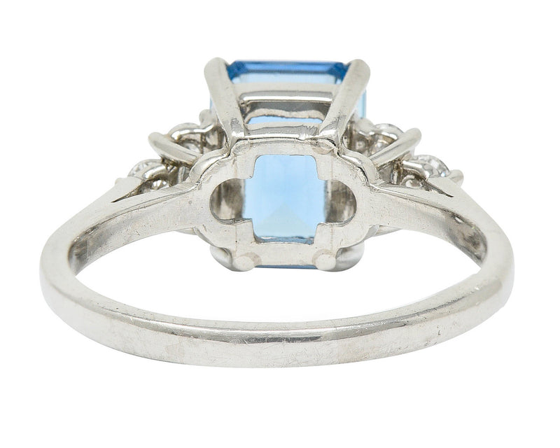 Arts & Crafts 5.00 CTW Aquamarine 14 Karat Green Gold Cocktail Ring - Wilson's Estate Jewelry