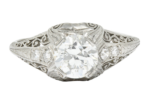 Edwardian 1.25 CTW Diamond Platinum Scrolled Engagement Ring GIA