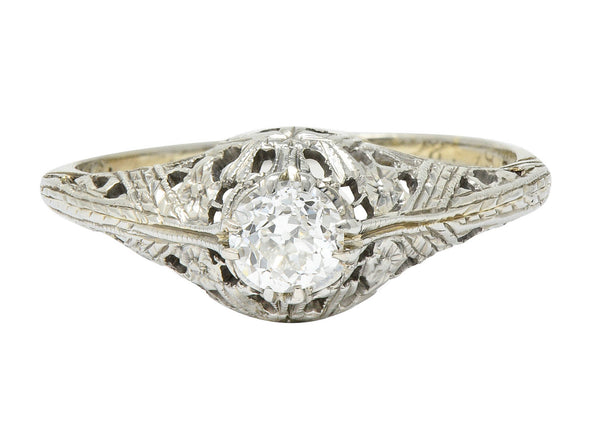 Edwardian 0.34 CTW Diamond 18 Karat White Gold Butterfly Engagement Ring