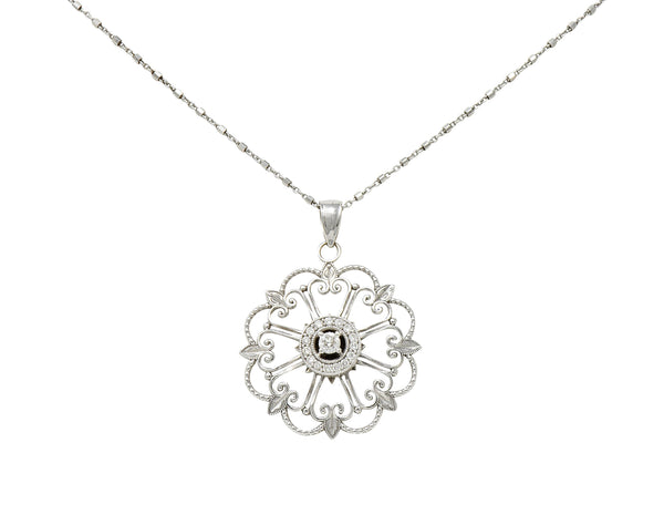 Modern Diamond 14 Karat White Gold Floral Mandala Pendant Necklace