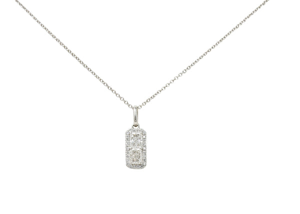 Modern 1.00 CTW Diamond Platinum 14 Karat White Gold Pendant Necklace
