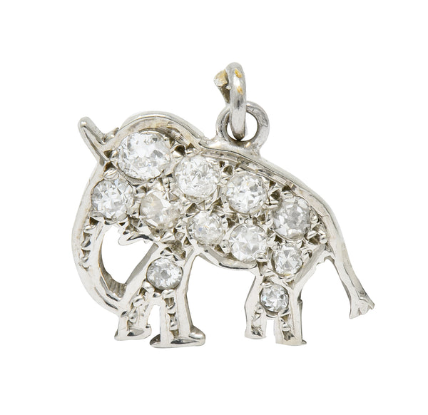 Art Deco Pave Diamond Platinum Elephant Charm - Wilson's Estate Jewelry