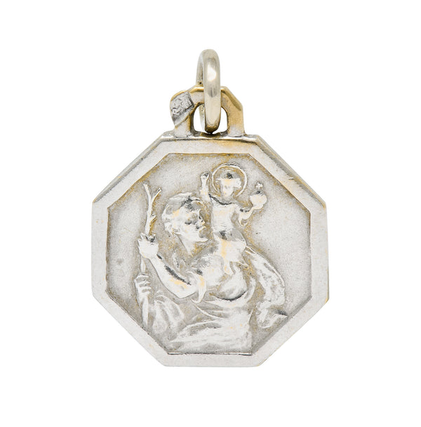 Art Deco French 18 Karat White Gold St. Christopher Charm - Wilson's Estate Jewelry