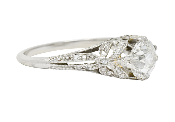 Edwardian 1.52 CTW Diamond Platinum Bow Engagement Ring - Wilson's Estate Jewelry