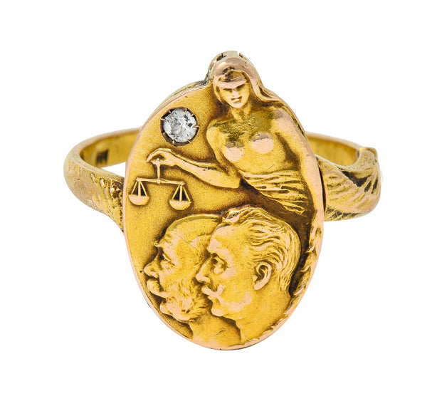 1914 Austro-Hungarian Diamond 14 Karat Gold Blind Justice Franz Ferdinand Unisex Locket Ring