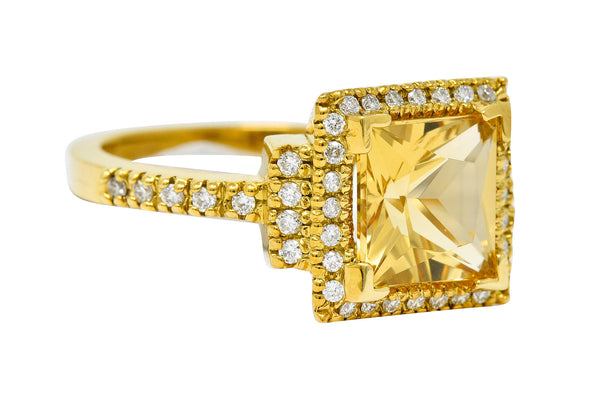 Heliodor Golden Beryl Diamond Halo 18 Karat Gold Gemstone Ring
