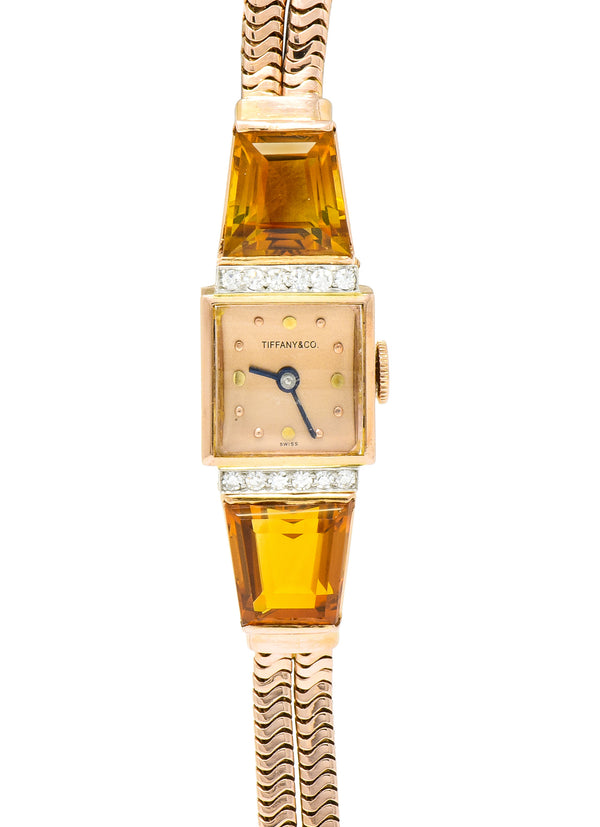 Tiffany & Co. Retro Citrine Diamond 14 Karat Rose Gold Watch Bracelet - Wilson's Estate Jewelry